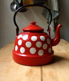 Red & White Polka Dot Enamel Tea Ketlle in Williamsburg