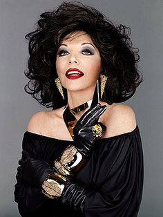Alexis Carrington, 1981-1989, TV series Dynasty. Played by Joan Collins. displaying 1980's excess and big shoulder pads.