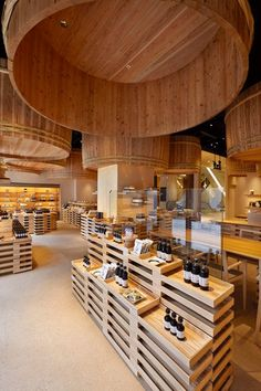 kengo kuma has completed the interior renovation of the kayanoya shop in tokyo, a soy sauce manufacturer who have been in the industry for 120 years. Kengo Kuma, Commercial Design, Commercial Interiors, Cave A Vin Design, Design Comercial, Tokyo Shopping, Interior Architecture, Interior Design, Chinese Architecture