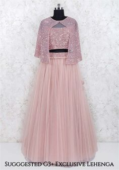 Shop Net fabric party wear jacket style pink lehenga choli online from India. Party Wear Indian Dresses, Designer Party Wear Dresses, Indian Gowns Dresses, Indian Bridal Outfits, Indian Fashion Dresses, Indian Designer Outfits, Girls Fashion Clothes, Dress Indian Style, Indian Wedding Gowns