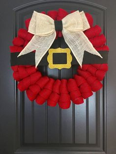 Santa Belt Buckle Burlap Wreath Christmas by ChatsworthRanchCo
