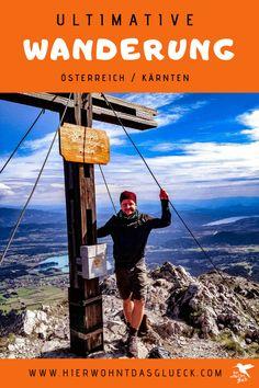"""Der Mallestiger Mittagskogel (slow. Maloško poldne) liegt in den Karawanken an der österreichisch-slowenischen Grenze. Wir haben die anspruchsvolle Tour mit leichtem Klettersteig für euch getestet! Außerdem verraten wir, was ein """"Zwölf-Uhr-Zeigeberg"""" ist. Wind Turbine, Happiness, Happy, Travel, Europe Travel Tips, Slovenia, Bonheur, Viajes, Being Happy"""