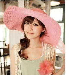 4e98a7d66c2 Pink Fashion Womens Big Bow Large Brim Summer Beach Straw Sun Hat