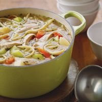 Put together an easy weeknight dinner with this home-style chicken noodle soup.