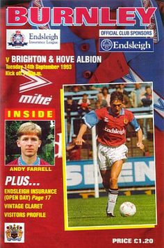 Burnley 3 Brighton 0 in Sept 1993 at Turf Moor. The programme cover #Div2