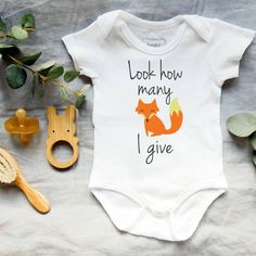 Baby onesies - Look how many fox I give bodysuit- Baby shower gift How To Express Feelings, Feelings And Emotions, Unique Baby, Baby Bodysuit, Baby Shower Gifts, Onesies, Fox, How Are You Feeling, Trending Outfits