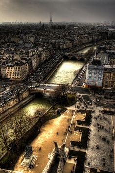"""The Seine as seen from Notre Dame, Paris, France Cathedral. by J. A. Alcaide"""" :-)"""