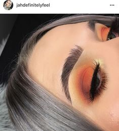 Glitter neutral make up glam look cut crease orange sunset #GlitterMaquillaje