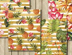Tropical digital paper pack instant download by RowanTreePrints
