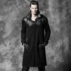 Gothic Punk Black Leather Patch Bat Wool Winter Trench Coat Men Handsome Steampunk Male Hero Theme Long Warm Jacket Outwears