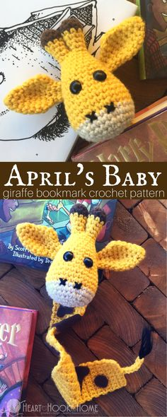 April sure ain't havin' that baby so I decided that we need our own giraffe baby.  An adorable amigurumi giraffe bookmark crochet pattern.