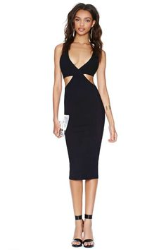 Nasty Gal Get Lucky Midi Dress - Black