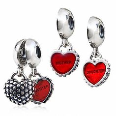 Mother and Daughter Charm 925 Sterling Silver Love Heart Family Dangle Charm for Bracelet >>> Check out this great product. (This is an affiliate link) #ILoveJewelry
