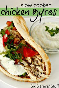 Two Step Chicken Gyros are great to make if you want to change up your dinner menu. All you have to do is put the ingredients in your slow cooker and let them cook. Garlic, lemon juice, and red wine vinegar give these slow cooker gyros their flavor