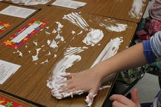 Shaving cream clouds.  See the cirrus clouds? Or the cumulus? (Plus the shaving cream cleans the desks!)