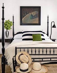 Black, white and green bedroom. STRIPES!!!