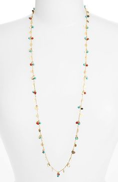 Free shipping and returns on LONNA & LILLY Long Embellished Necklace at Nordstrom.com. Colorful seed beads and petite paillettes lend fluttering movement to the delicate golden chain of this versatile necklace that can be worn long or wrapped.