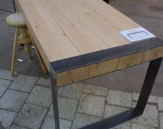 Handmade dining set staal & houten tafel met door Poppyworkspl