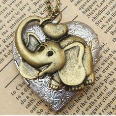 Steampunk Elephant Locket Necklace Vintage Style by sallydesign, $17.00