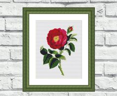 """Modern, elegant, vibrant and cheerful still life/flower pattern of """"Single Rose"""". These patterns look especially attractive when viewed from a distance and so easy to stitch! Perfect for any room in your home including living rooms, kids rooms and bedrooms. 6,99$"""