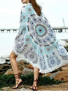 Printed Convertible Round Shape Cape Cover Up - BLUE ONE SIZE(FIT SIZE XS TO M)