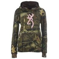 Camo hoodie with pink browning symbol