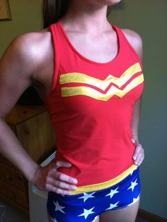 Wonder Woman running gear. $65.00, via Etsy. I would want to run if I got to wear this! ;D