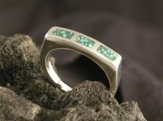 STERLING SILVER  4 mm wide GreenTurquoise chip inlay Ring has been Cast using lost wax method Polished to a High Shine by McWilliamsBopArt on Etsy