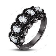 2.30Ct Five Oval Shape Stone Sim/D 14k Black Gold Finish Ladies Wedding Ring #affoin8 #WomensWeddingRing