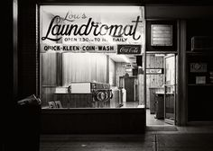 """Urban Visions: Lou's Laundromat. It was a very hot summer's night, my top floor apartment did not have any air conditioning, and I couldn't sleep; so I loaded up my film holders, grabbed my view camera and wandered the streets around where I lived for some images. From what I remember, and what my negative files prove; I didn't achieve many good exposures at all, except this one: """"Lou's Laundromat."""" part of my growing series Urban Visions"""