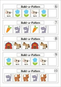 11 Math Centers - Farm {Pre-k & Kindergarten} 111 pages in total. Lots of hands on games and activities to make learning FUN! A page from the unit: 20 Patterning Cards (AB/AAB/ABC/ABB)