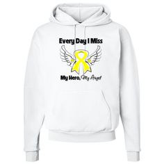 "Spina Bifida Pullover Hoodie with touching words: ""Every Day I Miss My Hero, My Angel"" featuring our original awareness ribbon with angel wings to pay tribute to a departed loved one while also raising awareness for the cause $31.99 awarenessribboncolors.com"
