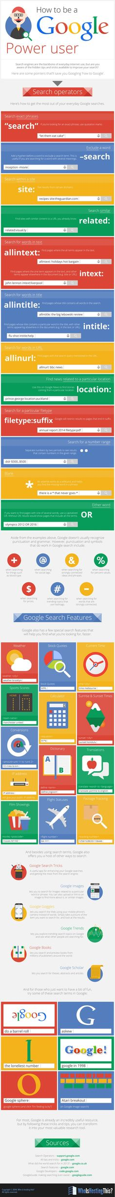 How to be a Google Power User #Infographic #HowTo #Internet #Google