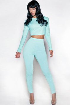 cae2d677d5 Sky Blue Twinkling Fashion Pant Set. Light Blue Crop TopSequin ...