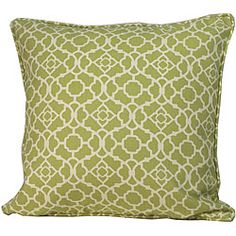 Dress up your decor with this outdoor decorative pillow from Jiti Pillows. Crafted by artisans in the United States, this pillow features a green Moroccan pattern.