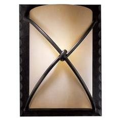 Sconce Wall Light with Beige / Cream Glass in Aspen Bronze Finish