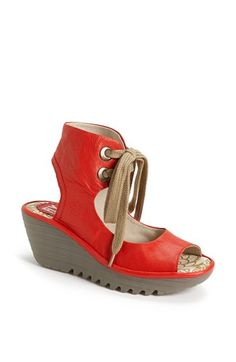 Fly London 'Yaffa' Wedge Sandal leather devil red 2.5h (169.95) NA