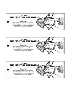 John 8 Light Of The World Bible Bookmarks: These printable Bible bookmarks make a great take home craft for your upcoming John 8 light of the world Sunday School lesson.