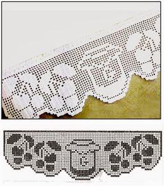 Crochet Dollies, Crochet Doily Patterns, Crochet Borders, Crochet Stitches, Stitch Patterns, Filet Crochet Charts, Crochet Cross, Crochet Lace, Crochet Fruit