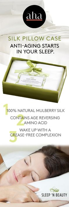 Silk Pillow Case - This 100% mulberry silk pillowcase will have you waking up looking your best. Silk glides over delicate facial skin, meaning you wake up with a crease-free complexion. The silk also contains a natural amino acid that counteracts the effects of aging, meaning you can actually reverse aging as you sleep.