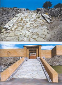 South-west gateway ramp - Troy II. Present photo and reconstruction. Possible way of the Trojan Horse to the citadel :-)