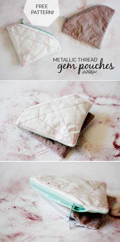 DIY: FREE PATTERN // metallic gem zipper pouch