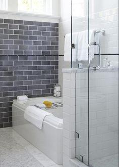 valkoinen, harmaa, laatat, kylpyhuone, lasi, Grey subway tiles, white grout!! Love it!