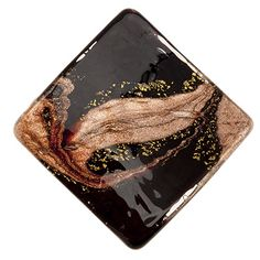 Murano Glass Bead Fantasia Wavy Diamond 45mm Black, Gold and Aventurina