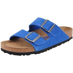 Birkenstock Arizona ($145) ❤ liked on Polyvore featuring shoes, sandals, blue, suede shoes, birkenstock sandals, suede sandals, blue shoes and cork footbed sandals