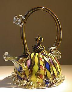 Glass art teapot