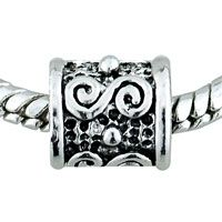 Pugster Scrolling Metalwork Tube Silver Plated Style Pandora Beads