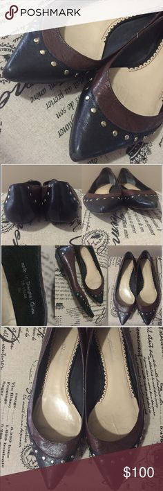 Johnston & Murphy flats Perfect staple flats for your wardrobe! They match with pretty much everything because they are brown and black with gold tone stud details. All leather. Women's size 8. They show signs of normal wear (see pics) these are very comfortable also!! Johnston & Murphy Shoes Flats & Loafers