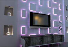 Wall Panels ideas 2016 modern led lighting ideas for living room trendy led lighting wall decorating ideas designs Tv Wall Design, Ceiling Design, Lamp Design, Led Light Design, Lighting Design, Lighting Ideas, Interior Exterior, Home Interior Design, 3d Wandplatten