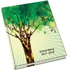 Foliage Yearbook Cover. This simple yearbook cover conveys a message of growth and opportunity, perfect for high schools or camps. This cover has coordinating backgrounds.
